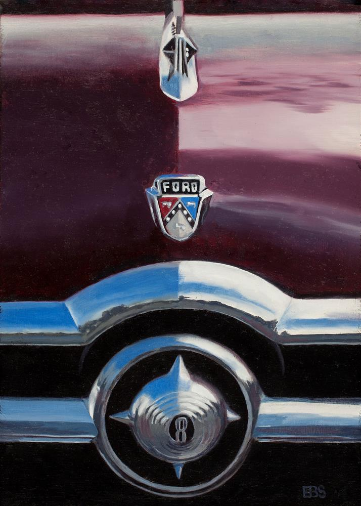 """1950 Ford Crestline Grill"" original fine art by Elaine Brady Smith"