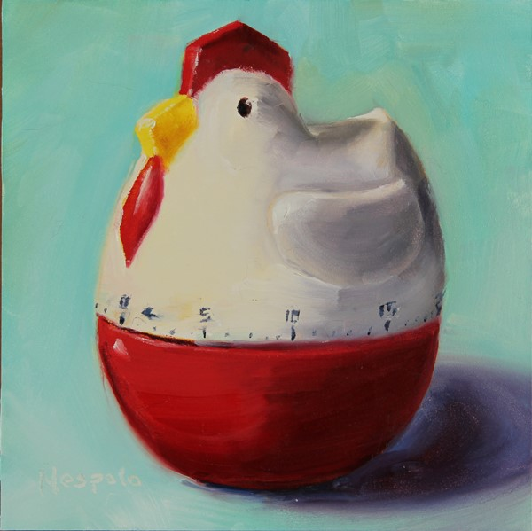 """My chicken timer"" original fine art by Carolyn Nespolo"