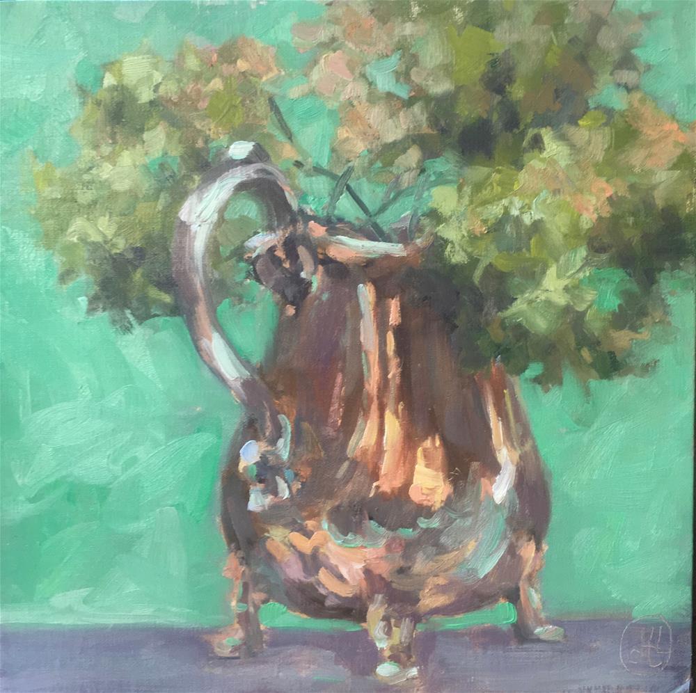 """""""green tea"""" original fine art by Dottie  T  Leatherwood"""