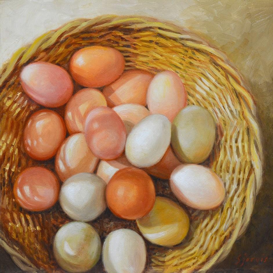 """""""Eggs in a Basket"""" original fine art by Susan N Jarvis"""