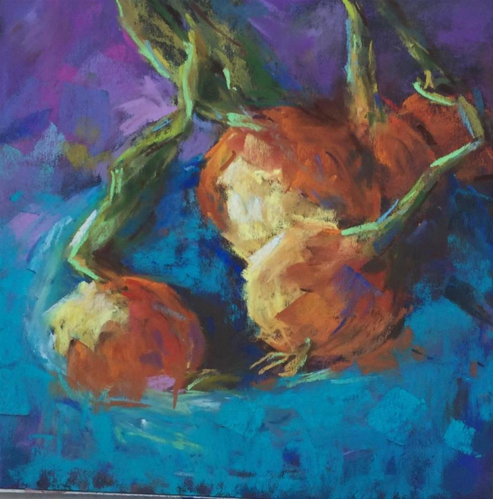 """Onions blue bowel still life pastel painting"" original fine art by Alice Harpel"