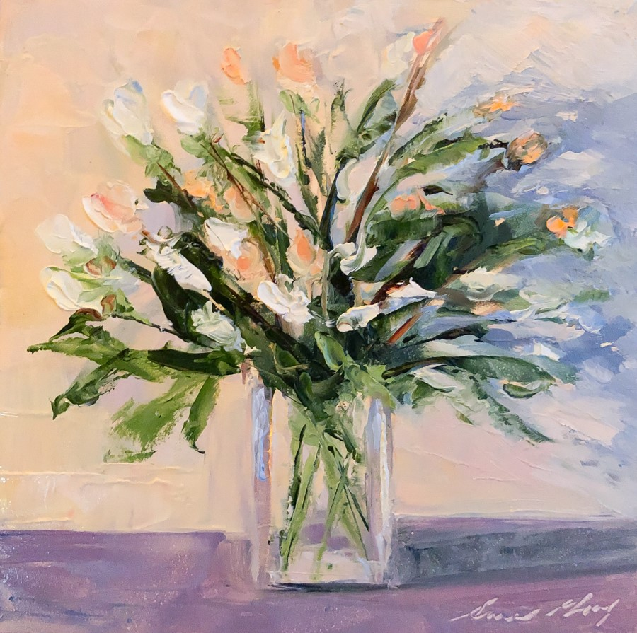 """#184 - Roses and Chrysanthemums"" original fine art by Sara Gray"