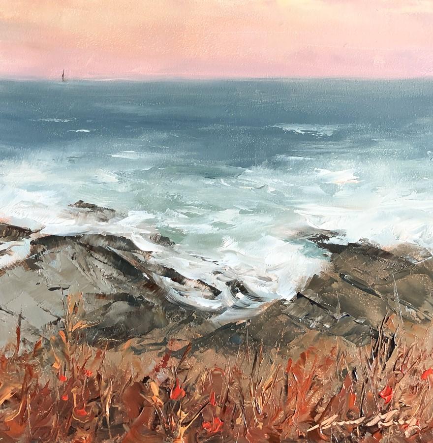 """#243 - Clearing Storm - Cape Elizabeth, ME"" original fine art by Sara Gray"
