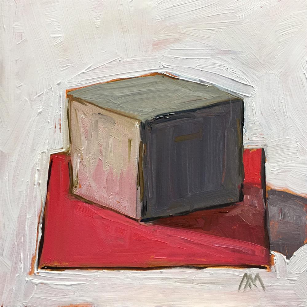 """White Cube on Red Paper"" original fine art by Austin Maloney"