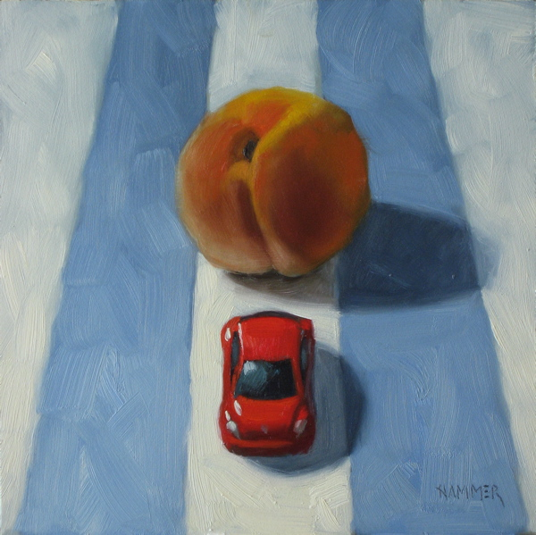 """""""Oh No, The Fuzz!  6x6 oil on panel"""" original fine art by Claudia Hammer"""