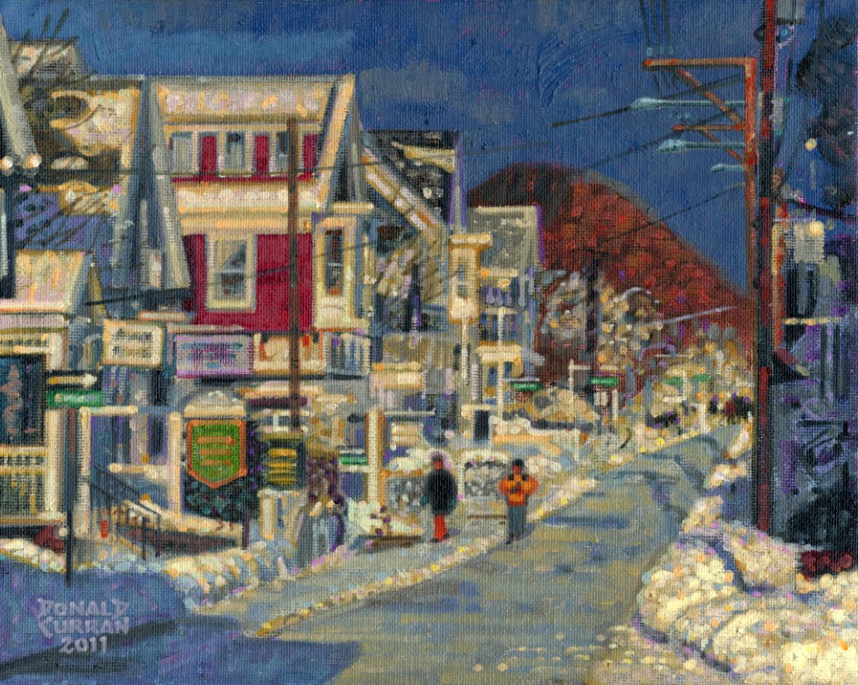"""Snowy Street"" original fine art by Donald Curran"