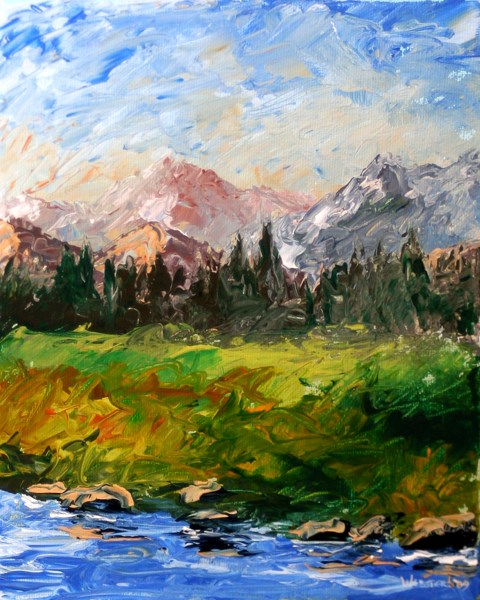 """""""Mark Adam Webster - Mountain River Abstract Palette Knife Acrylic Painting"""" original fine art by Mark Webster"""