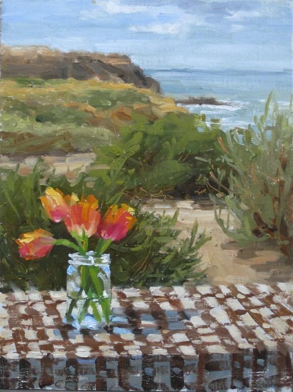 """Seashore & Tulips"" original fine art by Karen Werner"