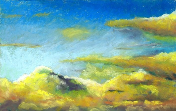 """""""After the Storm clouds pastel painting and SALE"""" original fine art by Ria Hills"""