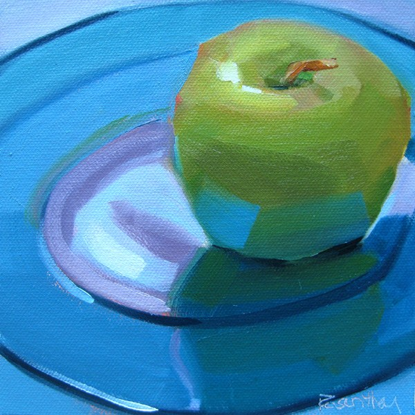 """Granny Smith on Blue Plate"" original fine art by Robin Rosenthal"