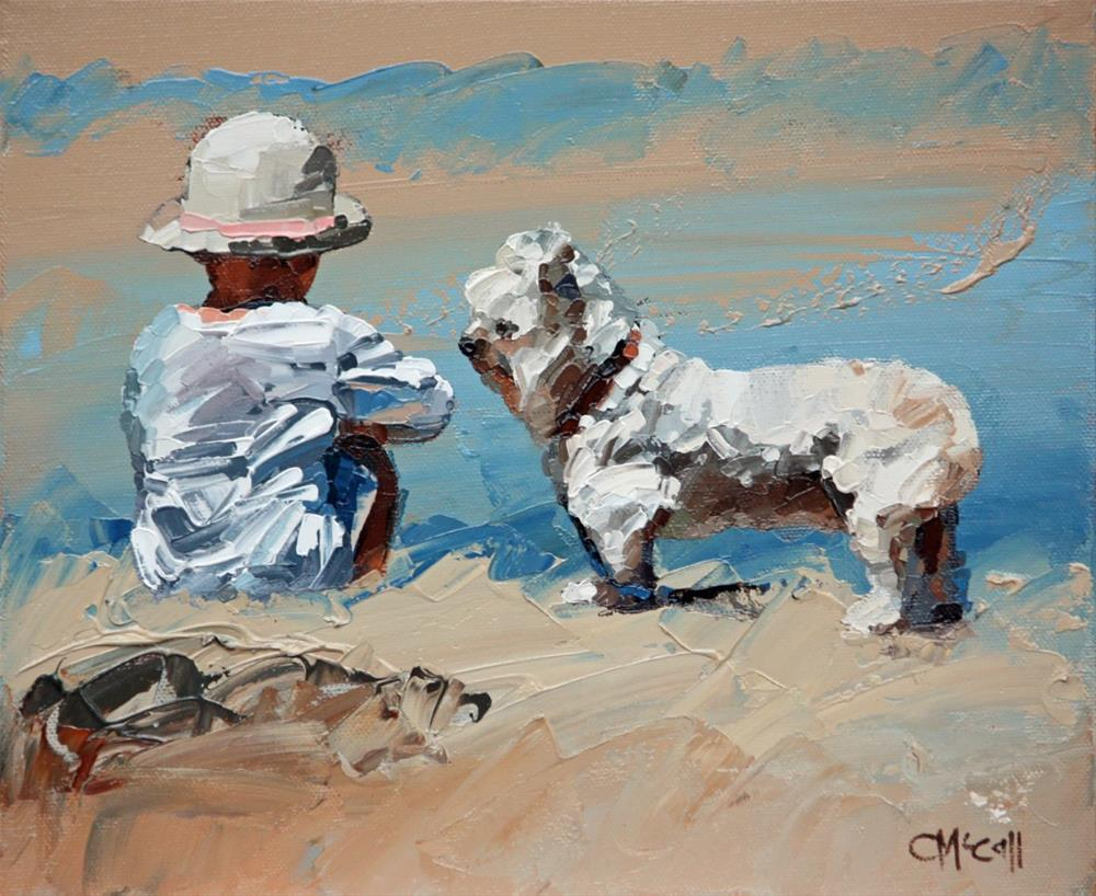 """""""The Girl And Her Loyal Pup"""" original fine art by Claire McCall"""