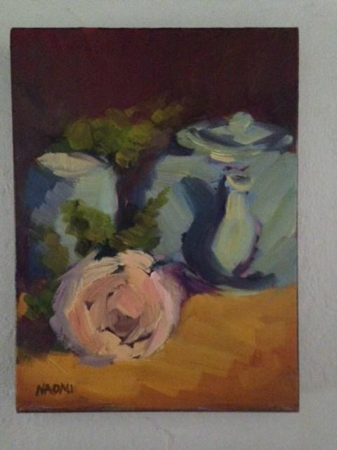 """Teapot and Flowers"" original fine art by Naomi Bautista"