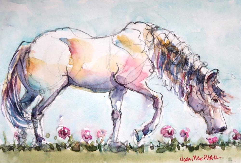 """grazing the day away"" original fine art by Nora MacPhail"