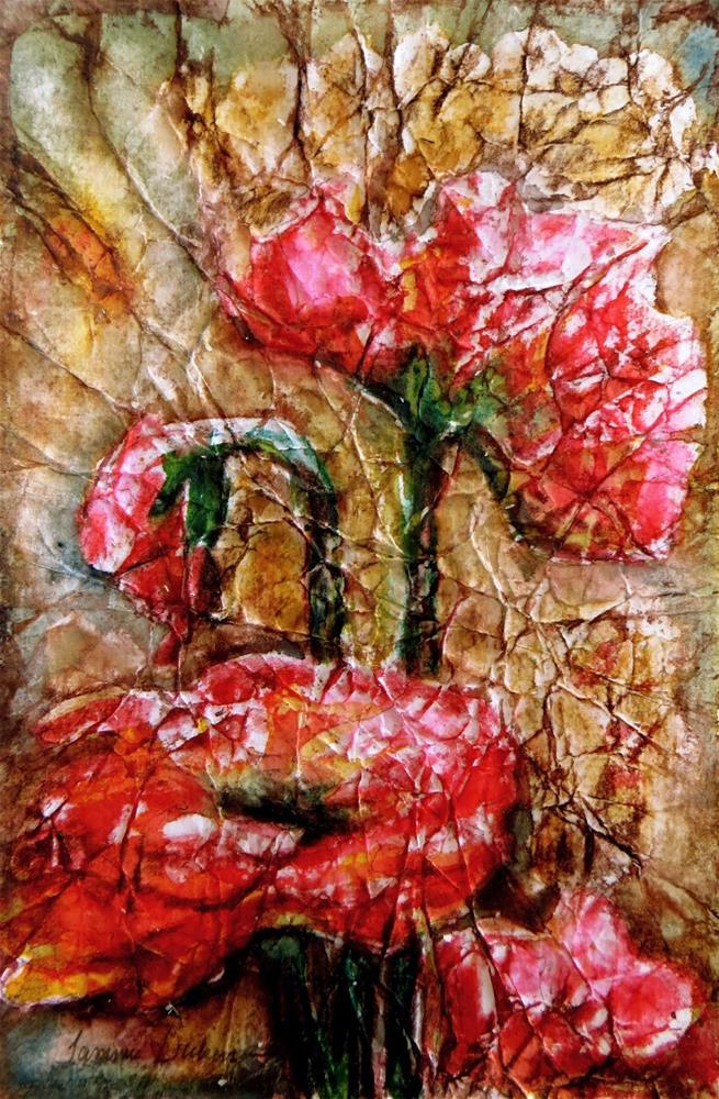 """Poppies Batik"" original fine art by Tammie Dickerson"