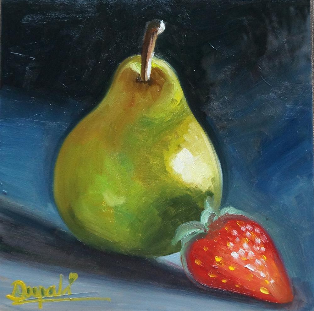 """Pear and Strawberry"" original fine art by Dipali Rabadiya"