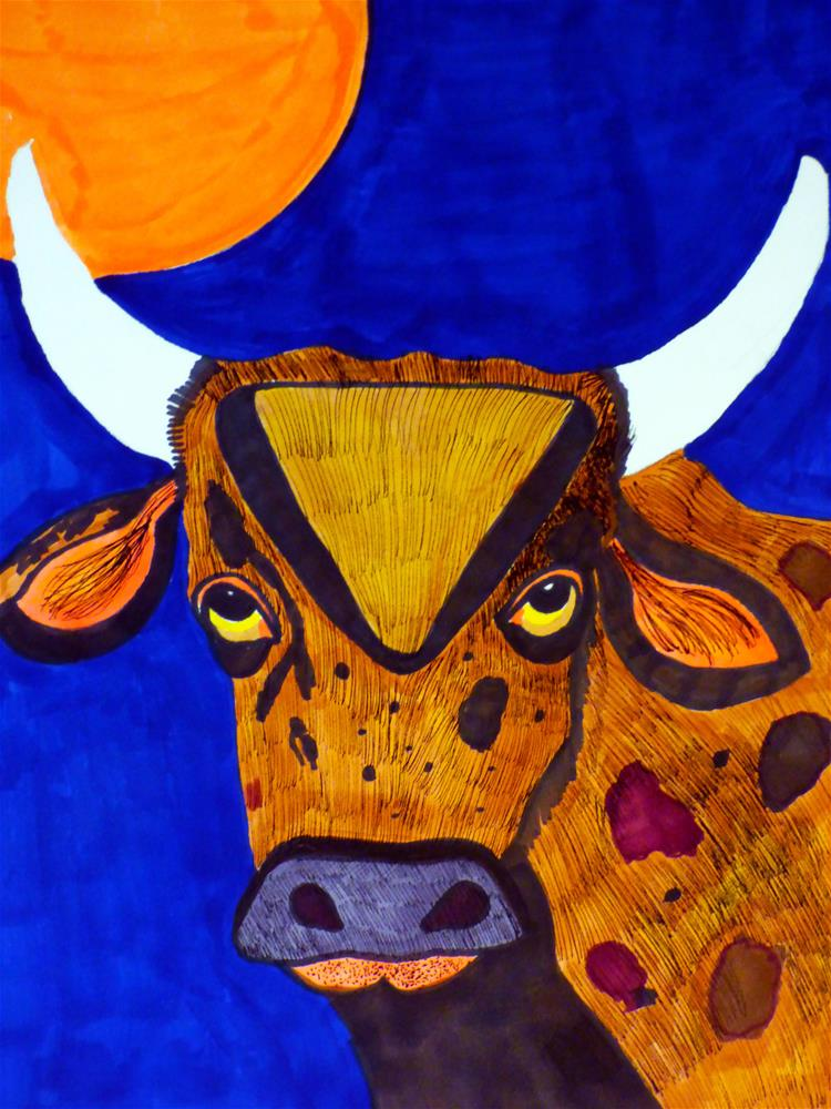 """""""If You Mess with the Bull, You'll Get the Horns"""" original fine art by Terri Brown-Davidson"""