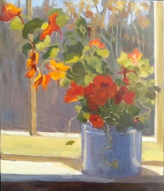 """""""Last of the Nasturtiums"""" original fine art by Elizabeth Bish"""