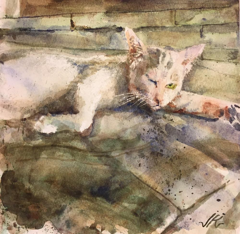 """Tom Cat in the Mosque"" original fine art by Jean Krueger"