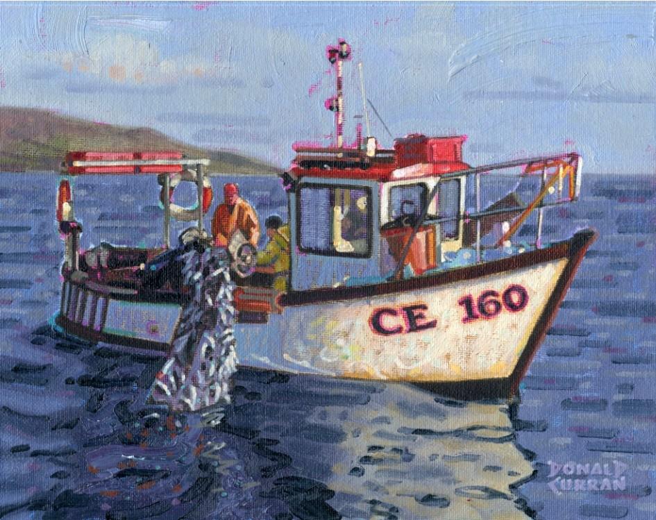 """Irish Fishing Boat"" original fine art by Donald Curran"