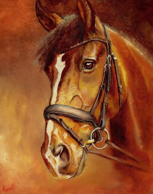 """""""Horse on Red No 2"""" original fine art by Karen Robinson"""