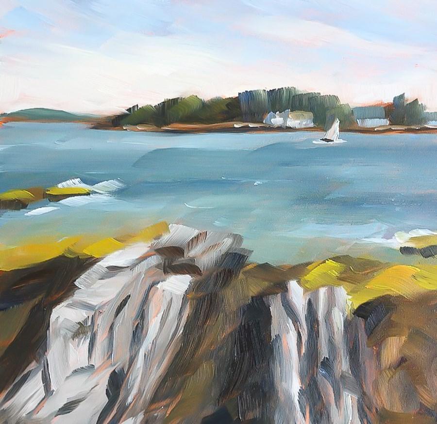 """#28 - Summer Sail - Boothbay Harbor, ME"" original fine art by Sara Gray"