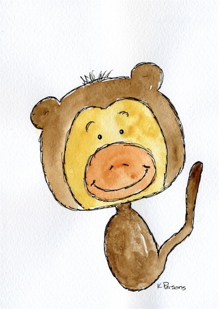 """Mischievous Monkey"" original fine art by Kali Parsons"