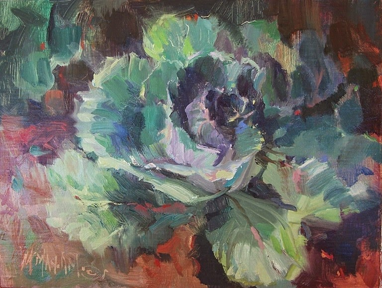 """Cabbages - a little color from the garden tour"" original fine art by Mary Maxam"