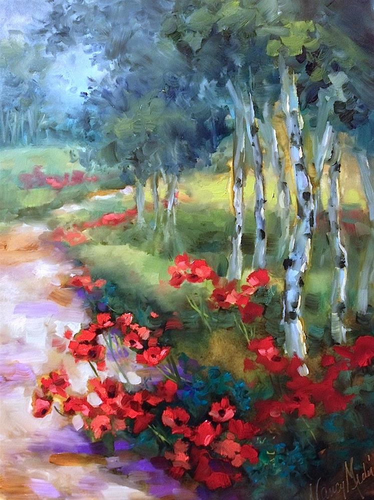 """""""Open Sky Field of Poppies and Live Painting on Facebook"""" original fine art by Nancy Medina"""