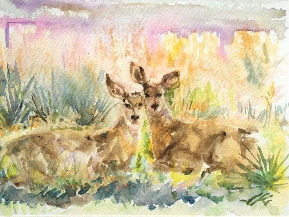 """Summer - Two Deer in the Yard"" original fine art by Jean Krueger"