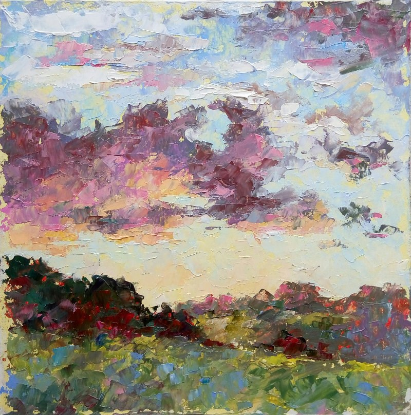 """The sky at sunset"" original fine art by Valerie Lazareva"