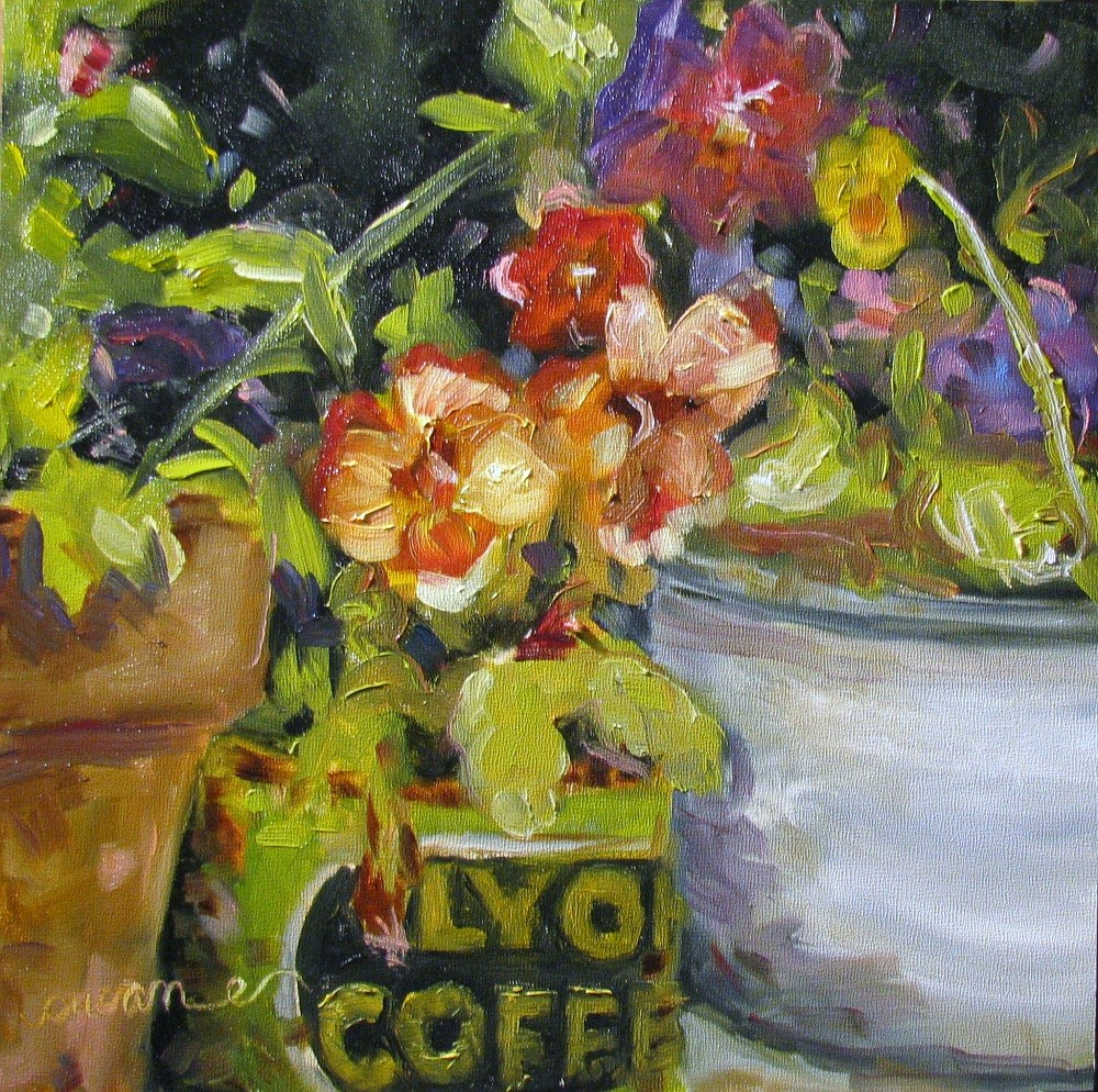"""Gilly's Pansies"" original fine art by Susan Elizabeth Jones"