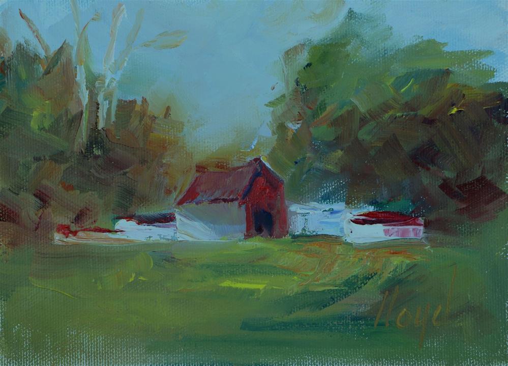 """Little Red Barn"" original fine art by Diane Lloyd"