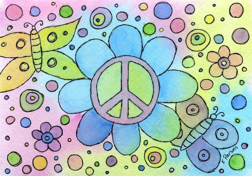"""Peace, Flowers, and Butterflies"" original fine art by Kali Parsons"