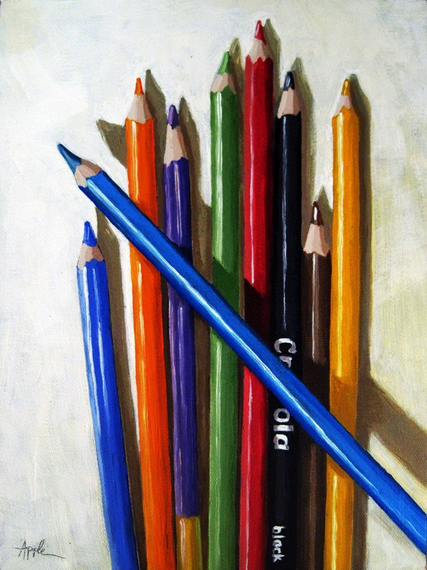 """Color Me Happy colored pencils still life oil painting"" original fine art by Linda Apple"