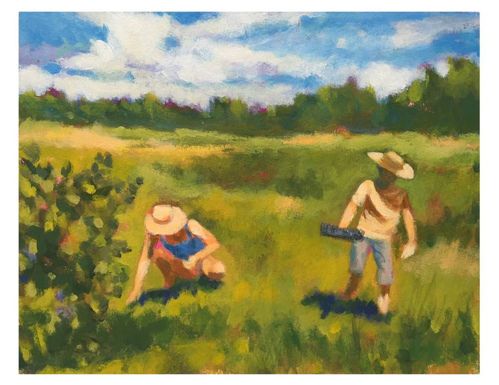 """""""The Blueberry Rakers"""" original fine art by Suzanne Woodward"""