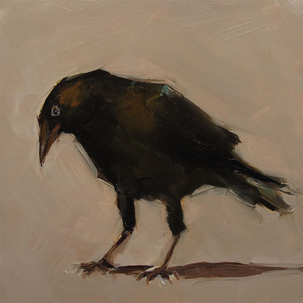 """CROW Raven Blackbird Black Bird Original Art Colette Davis 6x6 Painting OIL"" original fine art by Colette Davis"