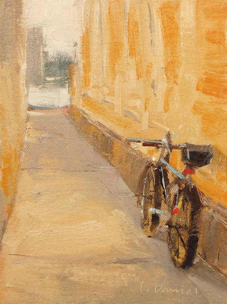 """""""Bicycle Alley - Quick Draw Do-over"""" original fine art by Laurel Daniel"""
