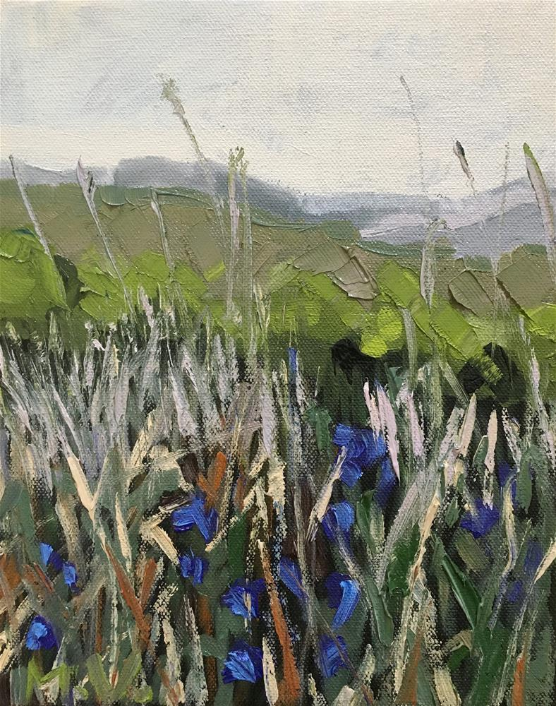 """Grass And Mountains"" original fine art by Milda Vaitiekunaite"