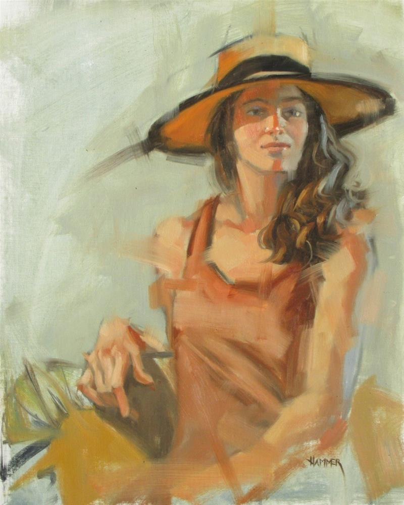 """Hannah in a hat  16 x 20  oil on linen"" original fine art by Claudia Hammer"