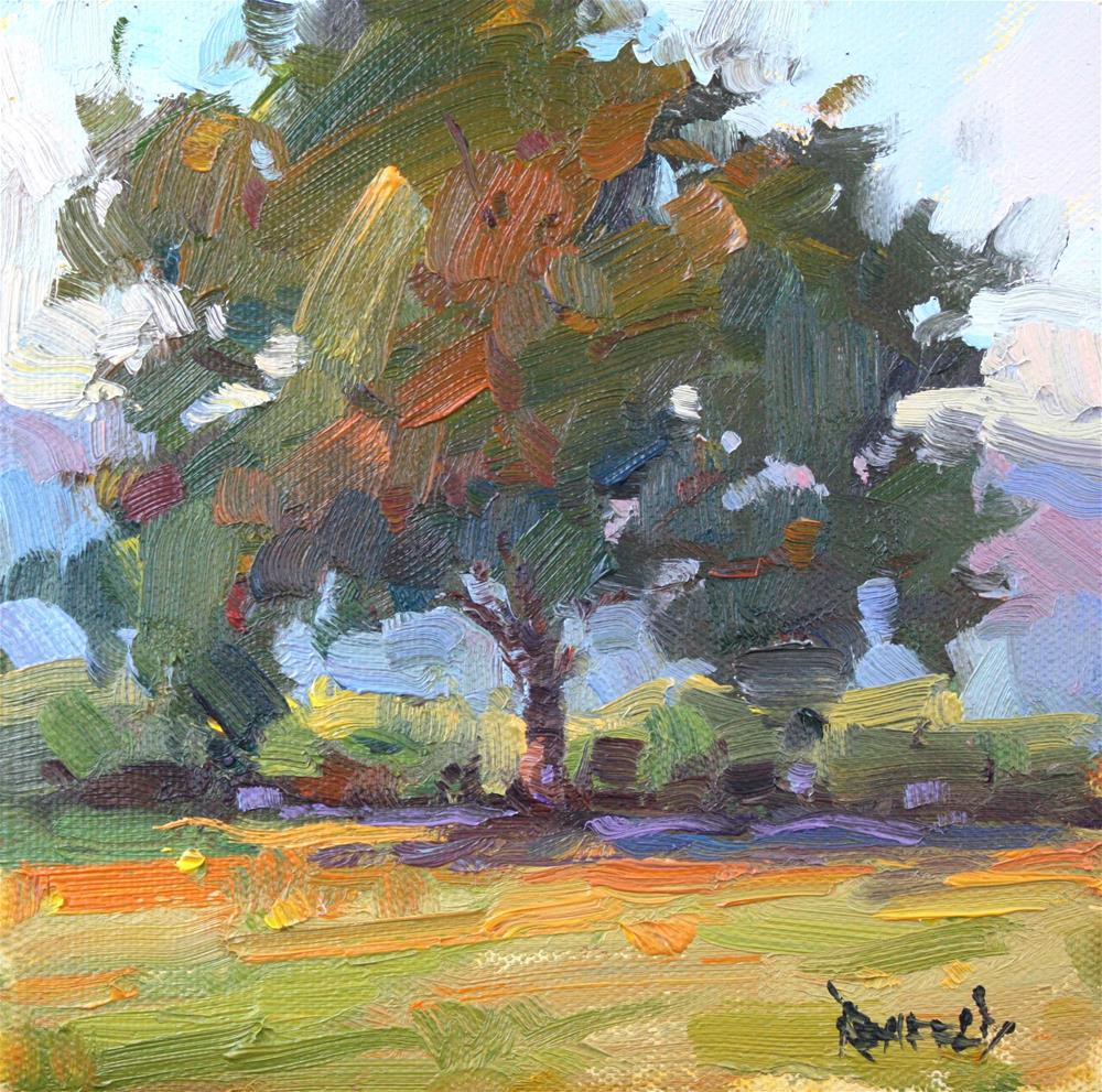 """Oak Tree in the Orchard"" original fine art by Cathleen Rehfeld"