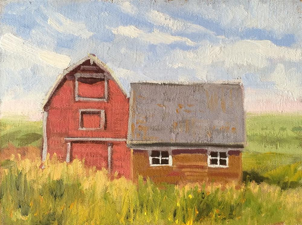 """Two Barns"" original fine art by Deborah Newman"