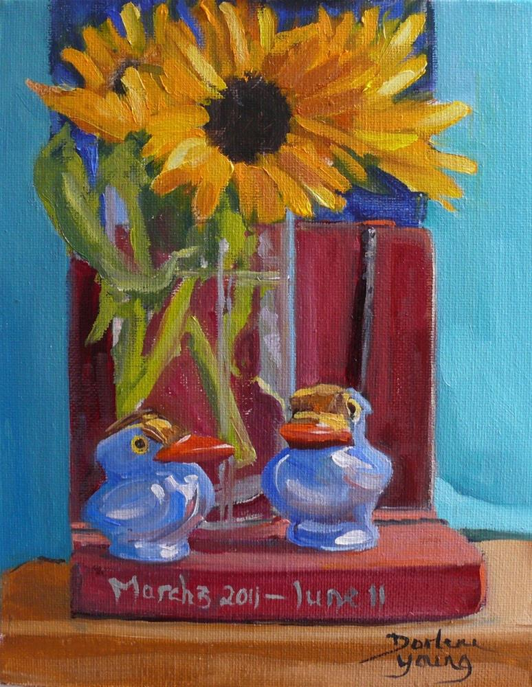 """""""886 Reminiscing, oil on board, 8x10"""" original fine art by Darlene Young"""