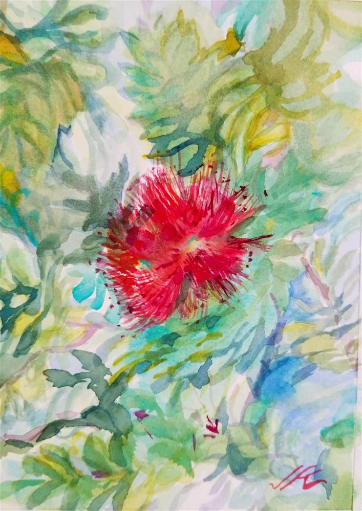 """Bottle Brush"" original fine art by Jean Krueger"