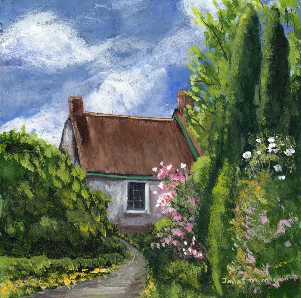 """""""Spring Cottage"""" original fine art by Janet Graham"""