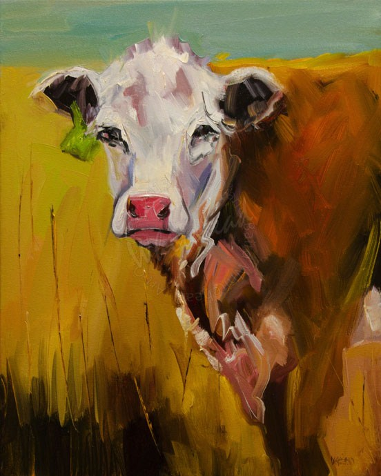 """Cow CATTLE ANIMAL ART ARTOUTWEST Diane Whitehead fine art"" original fine art by Diane Whitehead"
