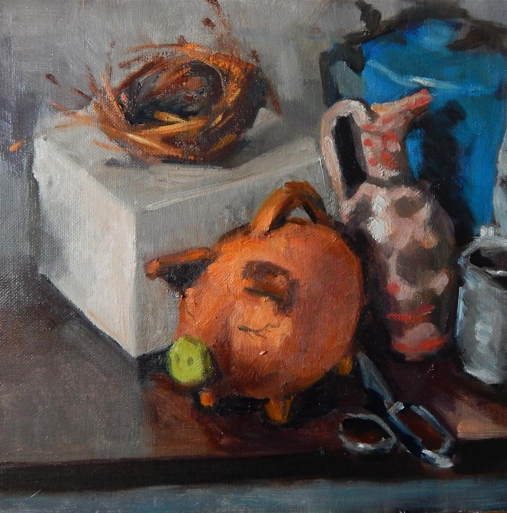 """""""Clutter With Bird's Nest"""" original fine art by Megan Schembre"""