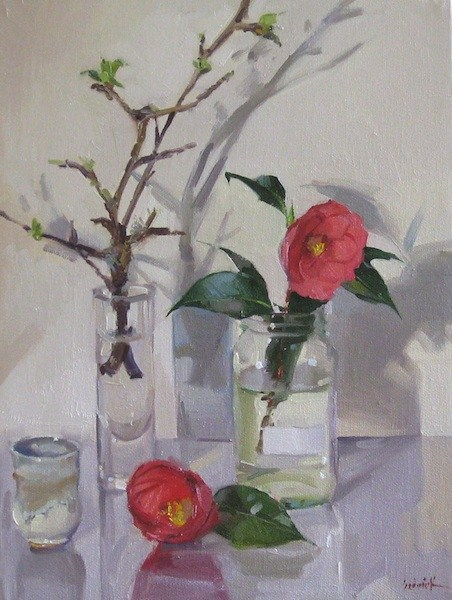 """""""Camellia and Apple Blossoms daily painting still life floral flowers spring garden original oil"""" original fine art by Sarah Sedwick"""