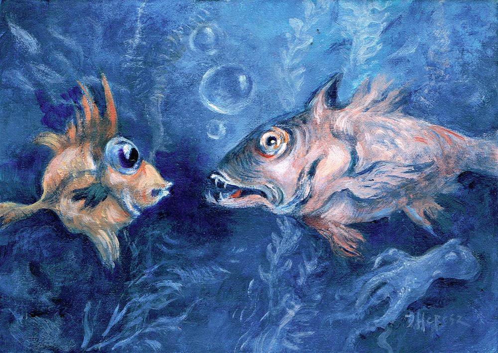 """Fish Story, FRAMED"" original fine art by Theresa Taylor Bayer"