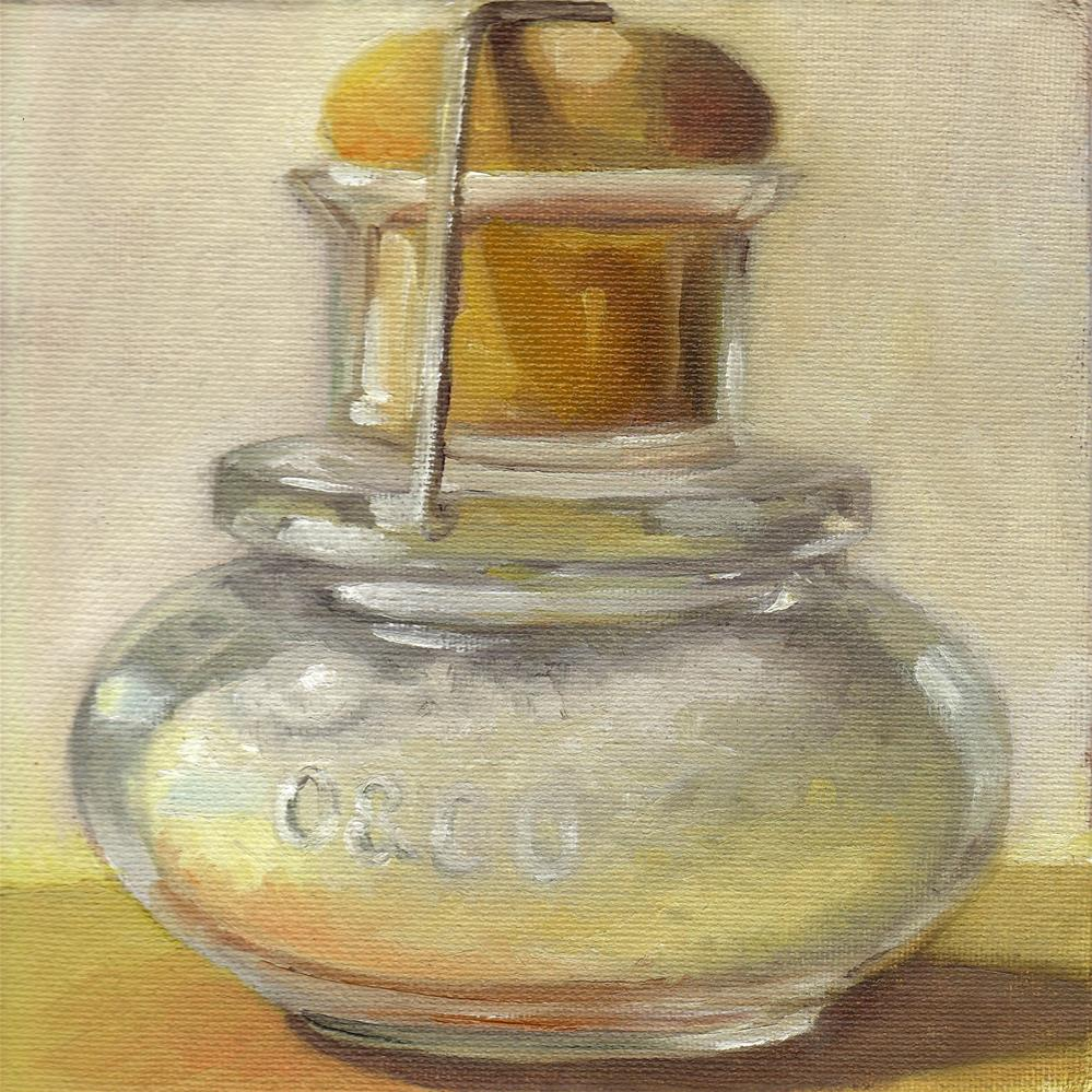 """Coarse Salt in Mini Glass Bottle with Cork"" original fine art by Anne Ducrot"