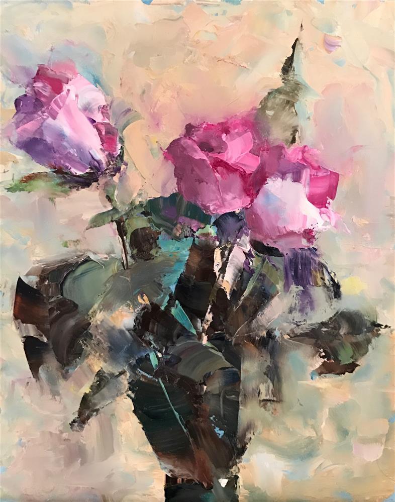 """""""Morning Roses"""" original fine art by Ann Feldman"""